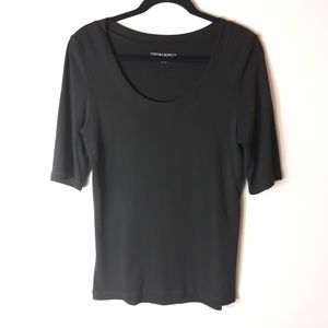 Cynthia Rowley| Scoop Neck Black Basic Shirt